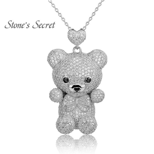Cute Bear Full of Glittery Cubic Zirconia 925 Sterling Silver Pendant With Chain Best Birthday Gift for Children and Lady