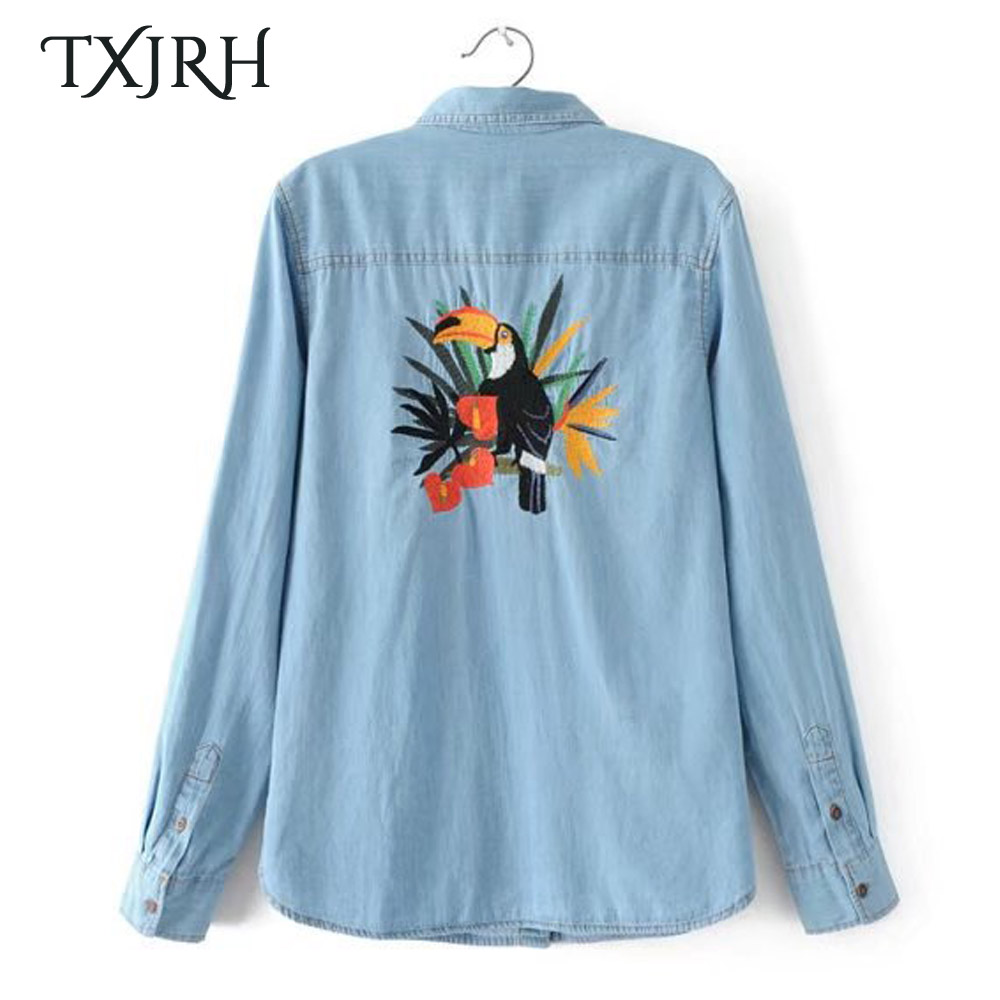 TXJRH Fashion Back Parrot Character Embroidery Denim Blouse One Pocket Long Sleeve Turn-down Collar Shirt Vintage Women Tops New