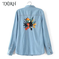 TXJRH Fashion Back Parrot Character Embroidery Denim Blouse One Pocket Long Sleeve Turn Down Collar Shirt