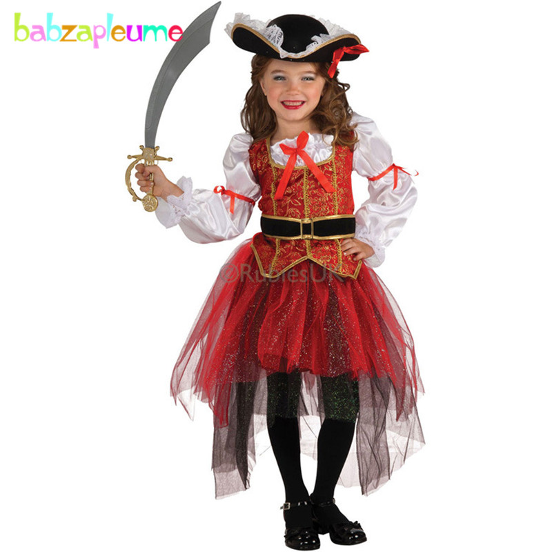 babzapleume Brand Girls Children's Clothes Kids Dance Clothing 4pcs/set Toddler Halloween Pirate Cosplay Party Costume 2-8T Y001 цены онлайн
