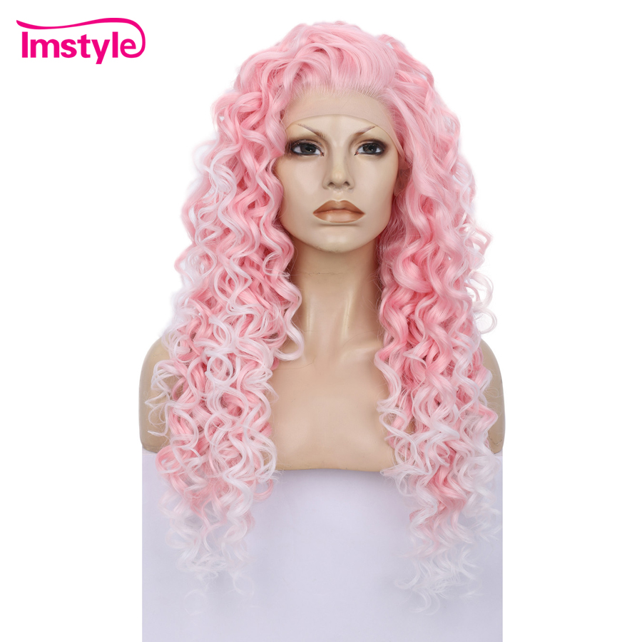 Imstyle Pink Curly Wigs Lace Front Wigs For Women Waist Length Two Tone Heat Resistant Fiber Synthetic Lace Wig Glueless Cosplay