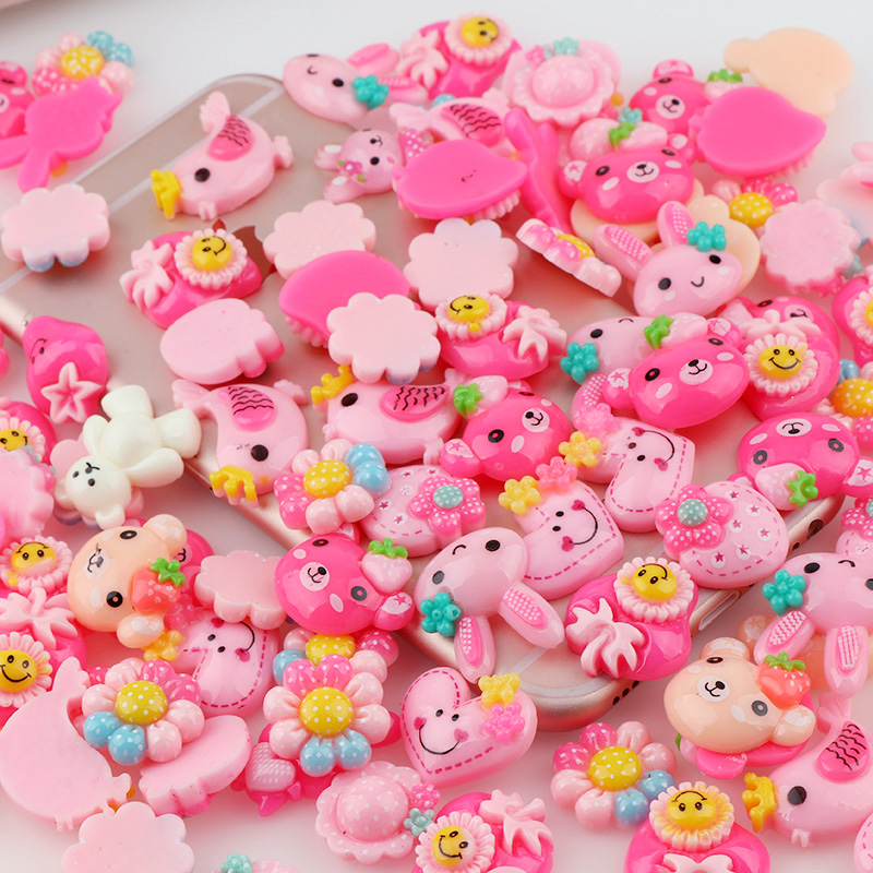 30PCS Mix Style Resin Miniature Flowers Candy Fish Resin Cabochons for DIY Phone Deco, Home Decoration