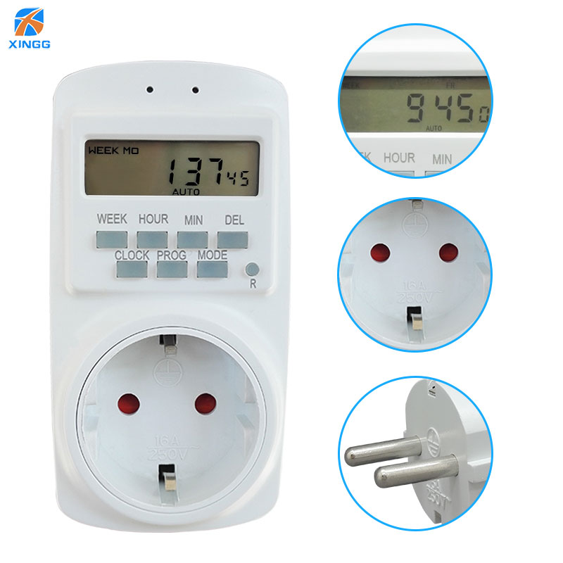 EU Russian Electronic Digital Socket Timer Switch Kitchen Outlet <font><b>250V</b></font> 50HZ Cyclic 7 Day <font><b>12</b></font> 24 Hour Programmable Timing Socket image