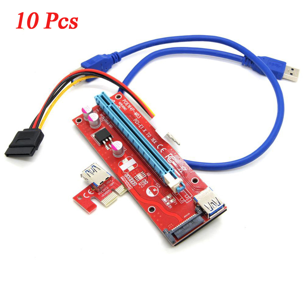10x USB 3.0 PCI-E Express 1x to16x Extender Riser Board Card Adapter kits +Cable Extender Riser Board Card Adapter kits J.25 5 pcs pci e express usb3 0 1x to16x extender riser card adapter sata power cable h5t4