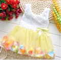 Free shipping 2016 new Summer Cotton Baby Aestheticism Fairy Tale Petals Colorful Dress Chiffon Princess Newborn Baby Dresses