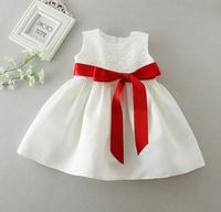 1PC White Baby Girl Baptism Christening Gown Dress Lace Flower Girl Party Dress 0 24Months with 4 Satin Ribbons