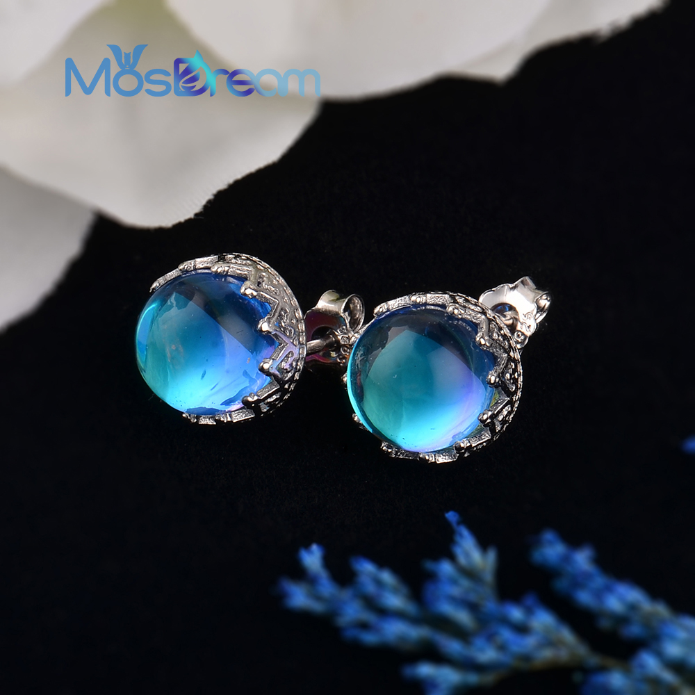 MosDream Blue Round Crystal Stud Earring 100% S925 Silver Wave Lace Simple Elegant Earring For Women Gemstone Jewelry Gift