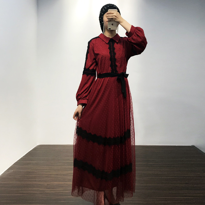Vestidos Abaya Ramadan Lace Muslim Dress Arabic Islamic Hijab Dress Turkey Caftan Marocain Tesettur Elbise Kaftan Robe Dubai
