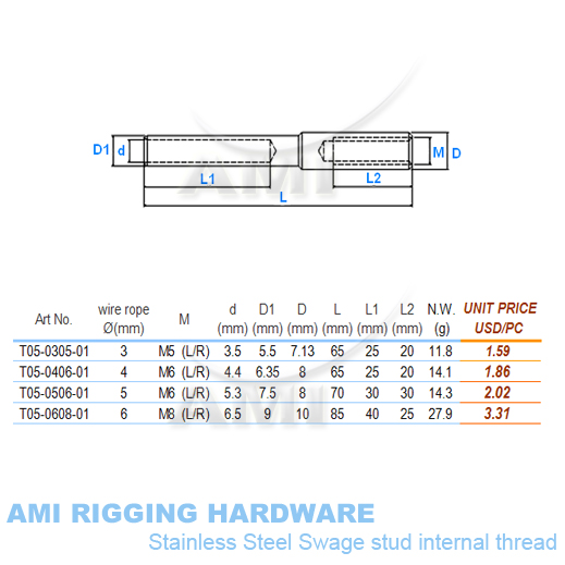 Aliexpress.com : Buy M8(R), 6mm wire, Swage stud inside thread ...