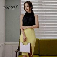 2 Piece Set 2018 Women Summer Black Sleeveless Halter Elegant Office Lady Top and Yellow Knee-length Vintage Wrap Skirt Ladies
