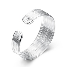 цена 925 Sterling Silver Bracelet For Women Men Multi-Line Bracelet Round Shape Silver Simple Bar Round High Quality Pop Bracelet онлайн в 2017 году