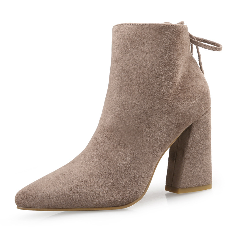 2017 Fashion High Quality Genuine Leather Pigskin Pointed Toe High Heel Women Boots Party Sexy Ladies Women Shoes Martin Boots new 2017 spring summer women shoes pointed toe high quality brand fashion womens flats ladies plus size 41 sweet flock t179