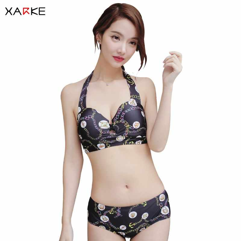 70b937b7fd557 XARKE 3 Pieces Women Push Up Bikini Skirt Cover Up Female Swimsuit Halter  Black Bikiny Sexy