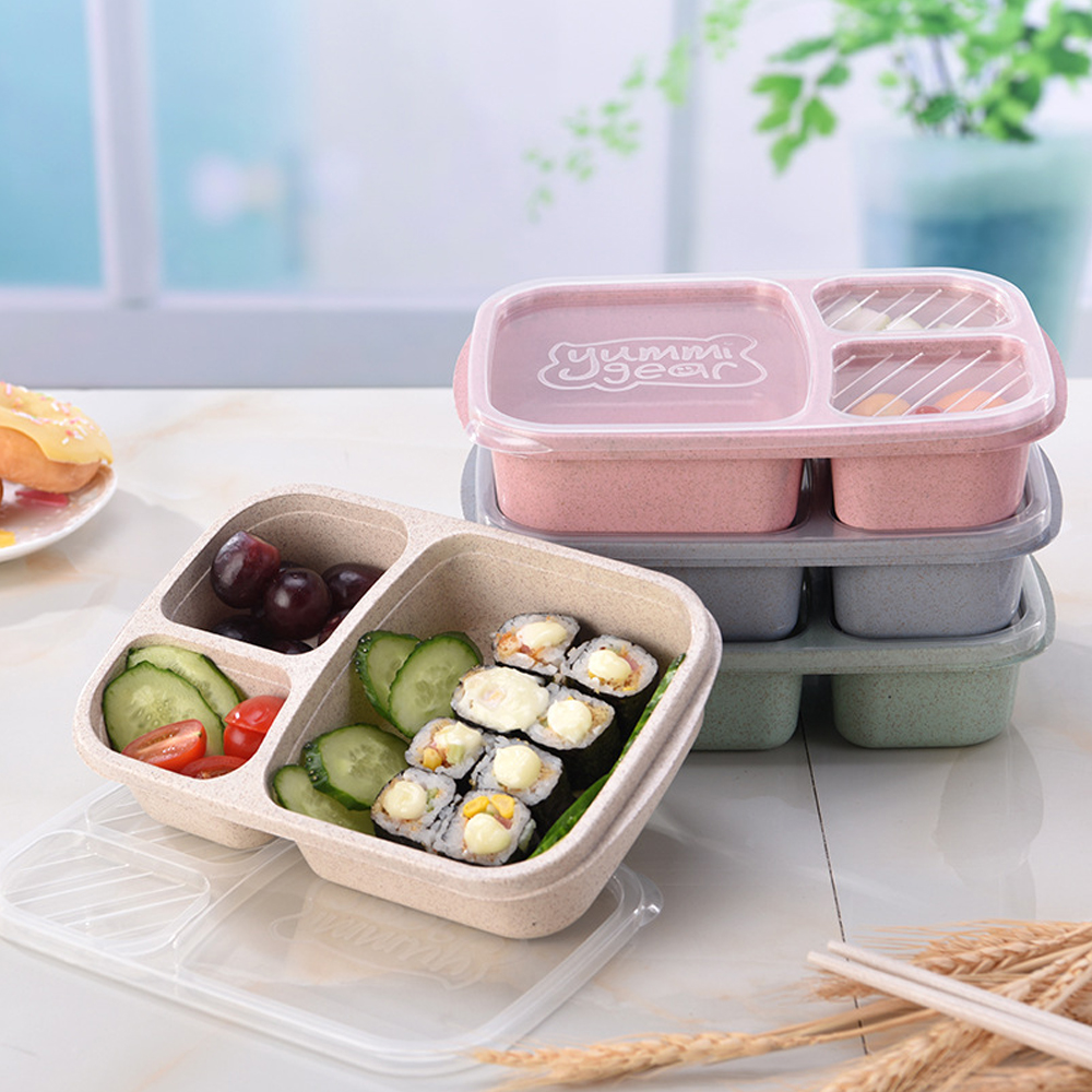 3 Grid Food Grade Wheat Straw Lunch Box  Microwave Oven Natural Rice Husk Food Storage Box Student Container Tableware Lunchbox