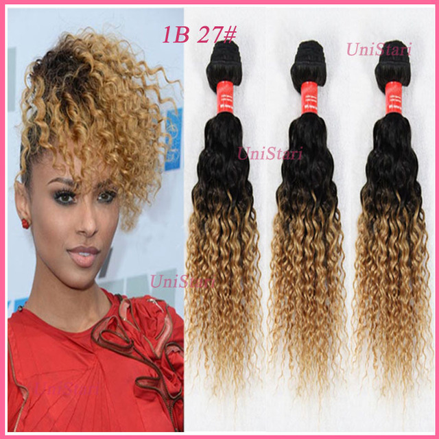 Brazilian Kinky Curly Virgin Hair Sew In Ombre Human Hair Extensions