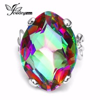 Jewelrypalace Solid 925 Sterling Silver 30ct Natural Rainbow Fire Mystic Topaz Genuine Ring For Women Charm