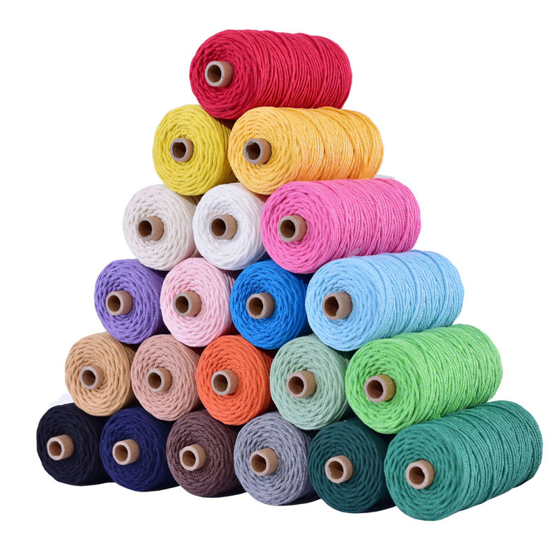 3mm 100% Cotton Cord Colorful Cord Rope Beige Twisted Craft Macrame String DIY Home Textile Wedding Decorative supply 110yards