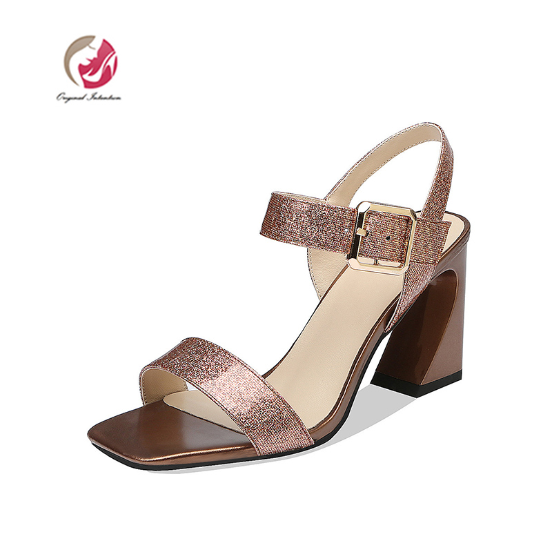 Original Intention Concise Women Sandals Square Open Toe Square Heels Sandals Silver Brown Casual Shoes Woman US Size 3-9.Original Intention Concise Women Sandals Square Open Toe Square Heels Sandals Silver Brown Casual Shoes Woman US Size 3-9.