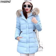 Winter Jacket Women Cotton Long Jacket 2017 Winter High Quality Fashion Thick Solid Color Hooded Women Cotton Outerwear YAGENZ