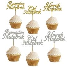 20 pcs 반짝이 골드 실버 eid 무바라크 라마단 무바라크 umrah 무바라크 컵케익 toppers 이슬람 eid 파티 케이크 장식