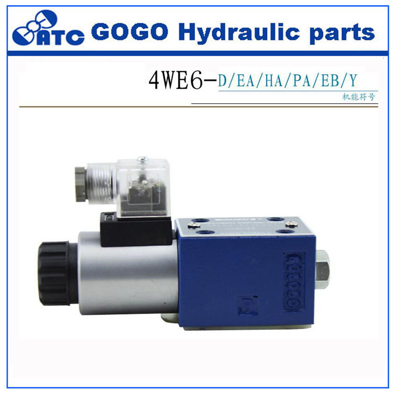 low price hydraulic solenoid valves 4WE6 Single coil solenoid directional valve with self locking emergency push