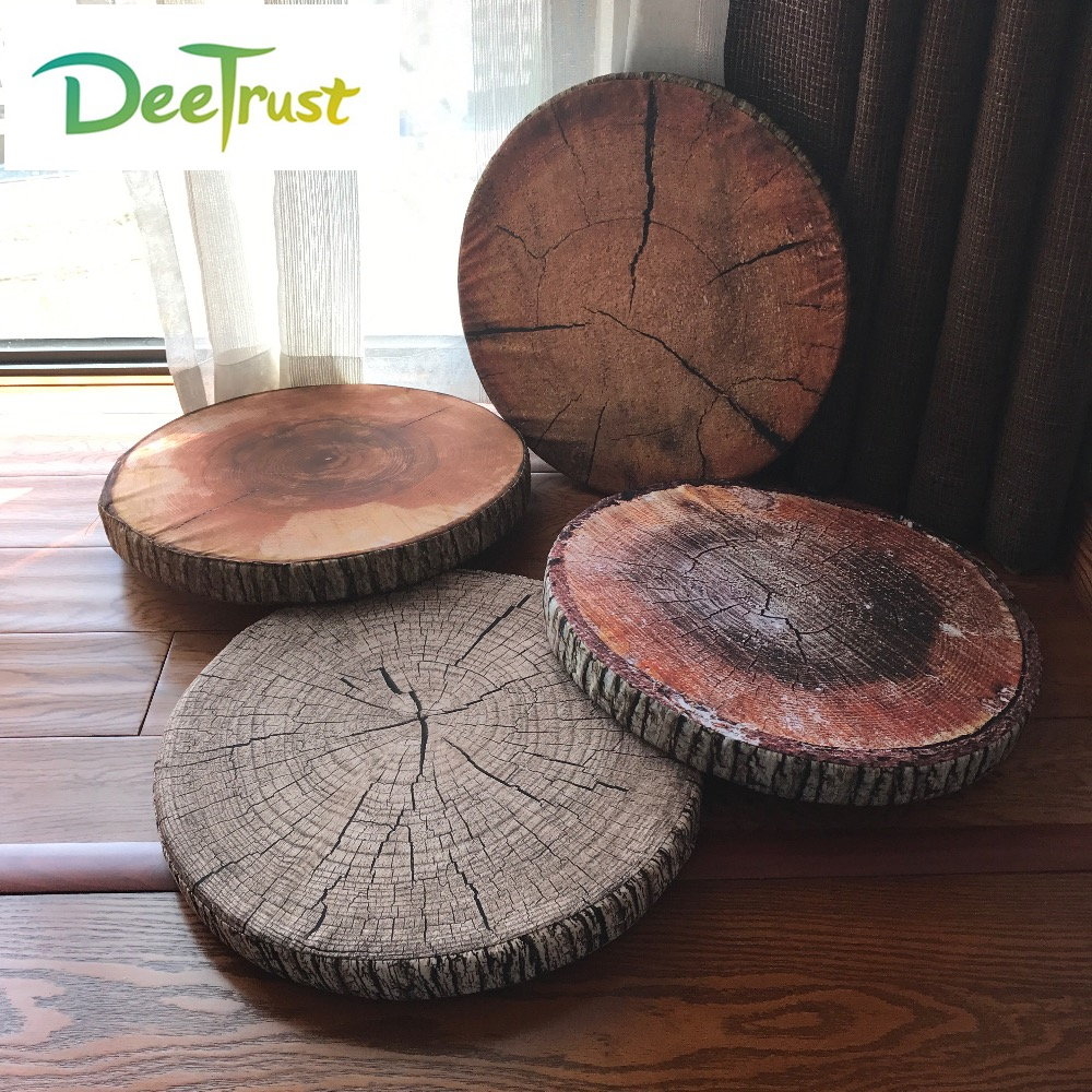 Vendita calda A Buon Mercato Creativo Ceppo di 3D Carino Cuscino Coussin Rotonda Sedia Cuscino del Sedile Del Capretto Kussens Divano Coperte e Plaid Cuscino Almofadas Cojines