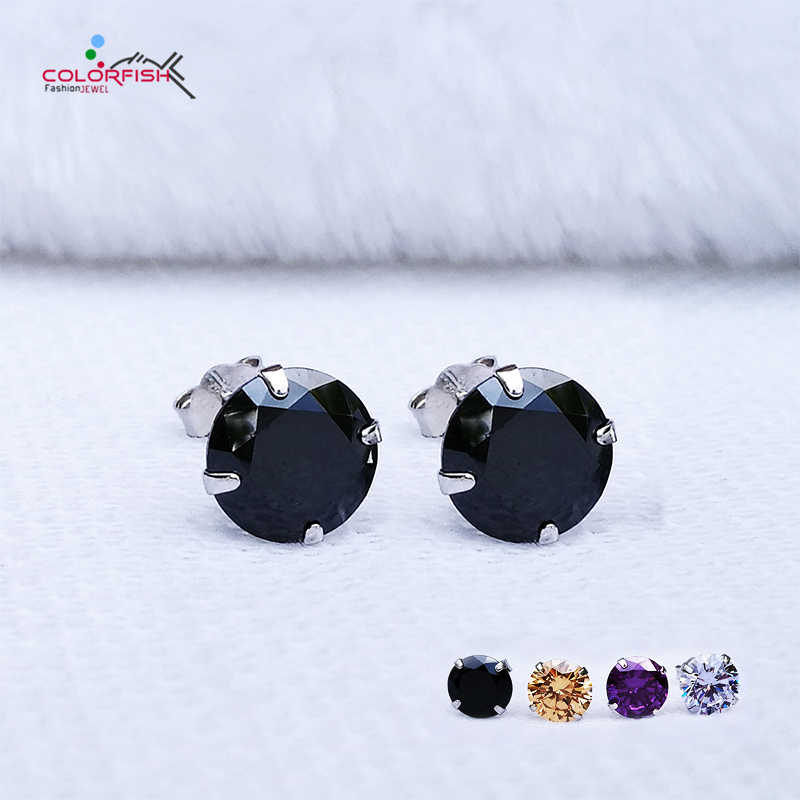 bc16834a6 COLORFISH Black Round Cut Cubic Zirconia Stud Earrings For Women men  Fashion 4 Color Cz Jewelry