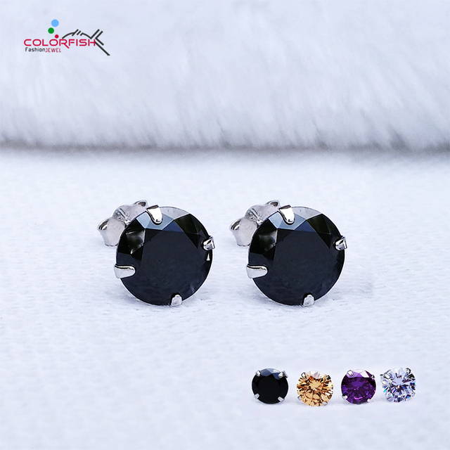 a26be58aa COLORFISH Black Round Cut Cubic Zirconia Stud Earrings For Women men  Fashion 4 Color Cz Jewelry