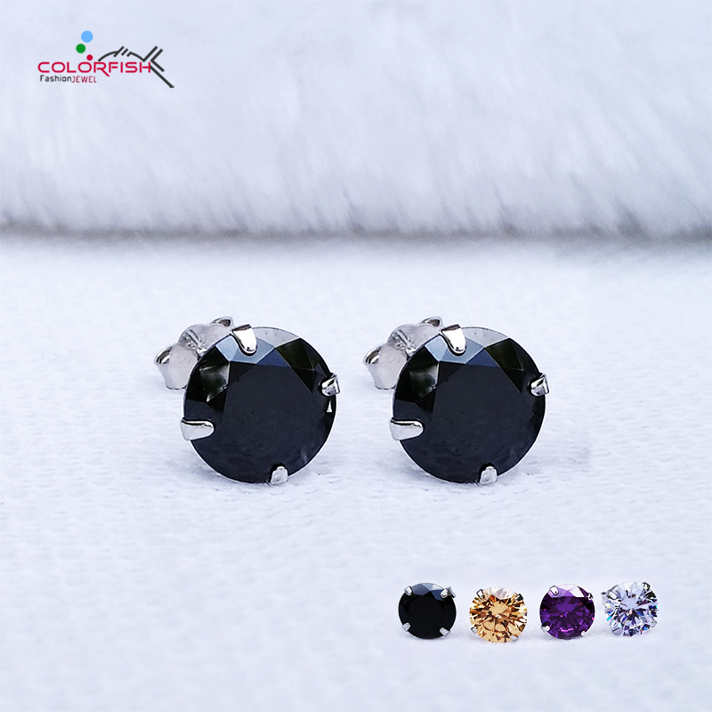 COLORFISH Black Round Cut Cubic Zirconia Stud Earrings For Women men Fashion 4 Color Cz Jewelry 925 Sterling Silver Earring Stud