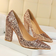 Fashion thick with high-heeled shallow mouth was thin female high-heeled pointed flashing sequins sexy nightclub shoes