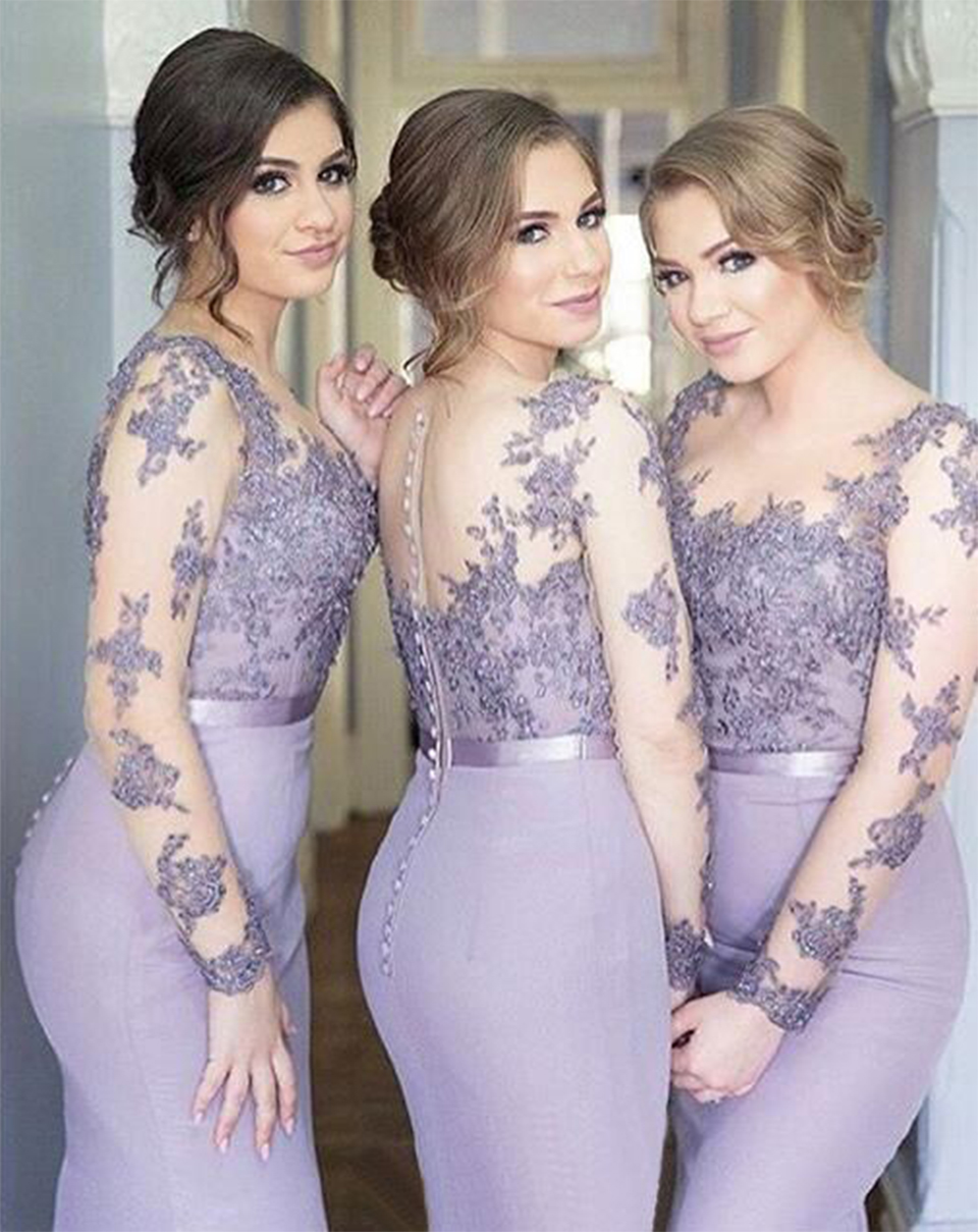 Lilac Long Sleeves Cheap Bridesmaid Dresses Illusion Under Mermaid Appliques Beaded Long Wedding Party Dresses
