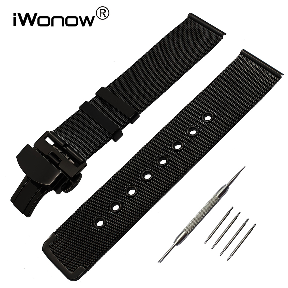 Milanese Watchband Butterfly Buckle Strap for Samsung Gear S2 Classic R732 R735 Moto 360 2 42mm Men Stainless Steel Watch Band for samsung gear s2 classic black white ceramic bracelet quality watchband 20mm butterfly clasp