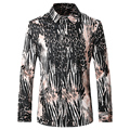 2016 New Crocodile Print Men Shirts Autumn Fashion Casual Brand Long Sleeve Shirts T0071