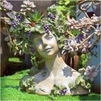 Creative Vintage Fleshy Goddess Flower Pot Ornaments Gardening Balcony Figurines Decoration Courtyard Park Statue Accessories