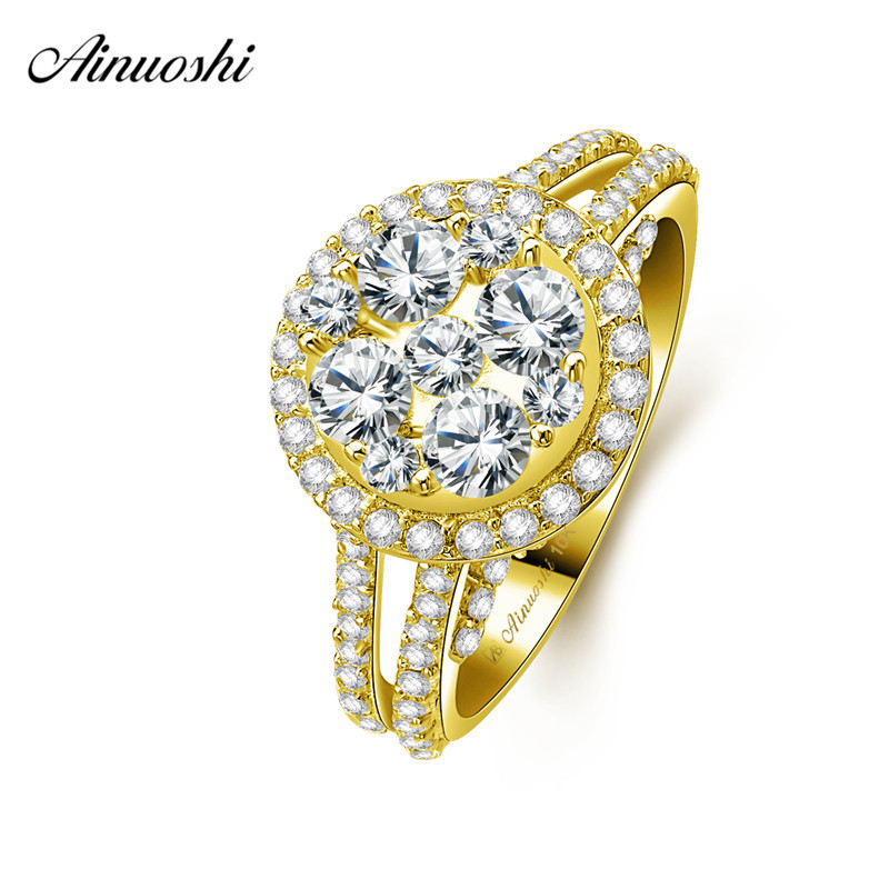 AINUOSHI 10k Solid Yellow Gold Bridal Halo Ring Round Cut SONA Diamond Woman Wedding Engagement Jewelry 3.5mm main stones BandsAINUOSHI 10k Solid Yellow Gold Bridal Halo Ring Round Cut SONA Diamond Woman Wedding Engagement Jewelry 3.5mm main stones Bands
