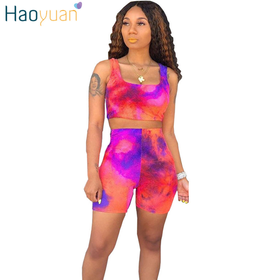 HAOYUAN Tie Dye Sexy Two Piece Outfits Tracksuit Women Summer Clothes Tank Tops And Biker Shorts Sweatsuit 2 Piece Matching Sets