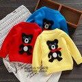 Envío libre masculina primavera niña oso de tres colores suéter de la rebeca de hilo de algodón del bebé ropa de abrigo estilo preppy
