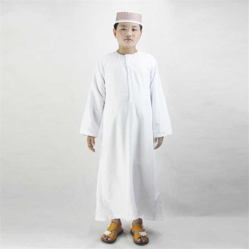 89b51cf7686da Boys Islamic Clothing for Kids Muslim Abaya Arab Dubai Turkey Malaysia  Round Neck Prayer Islam Robes for Toddler Boy Thobe