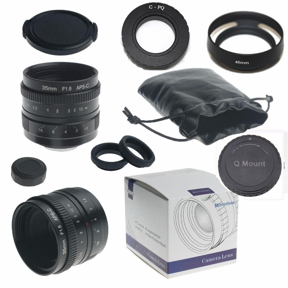 35mm f/1.6 33mm f1.6 mirrorless for APS-C Camera for Pentax Q + C-PQ adapter + lens hood + Macro Ring*2+ P/Q lens rear cap kaxinda metal 35mm f 1 7 lens for m4 3 nex fx eosm n1 p q e1 aps c mirrorless