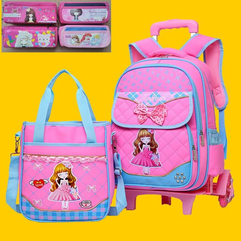 Girls Primary School Trolley Backpack Cartoon Kids Student Wheels Children Detachable Rolling Backpack Daypack