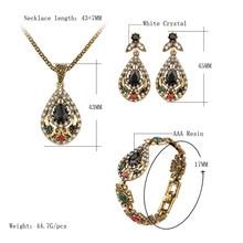 Unique Gold 3 Pcs Vintage India Jewelry Sets Hot Sale Crystal Hollow Out Geometric Statement Necklace Bracelets Earrings Set