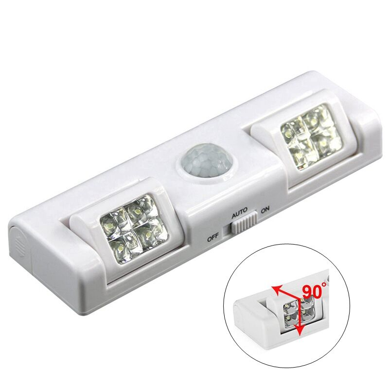 90 Degree 8 LED Under Cabinet Light PIR Motion Sensor Light Wardrobe Cupboard Closet Kitchen Lamp Night Light Battery Power