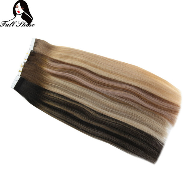Full Shine Tape Hair Extensions 50 Gram Glue On Balyayage Color Remy