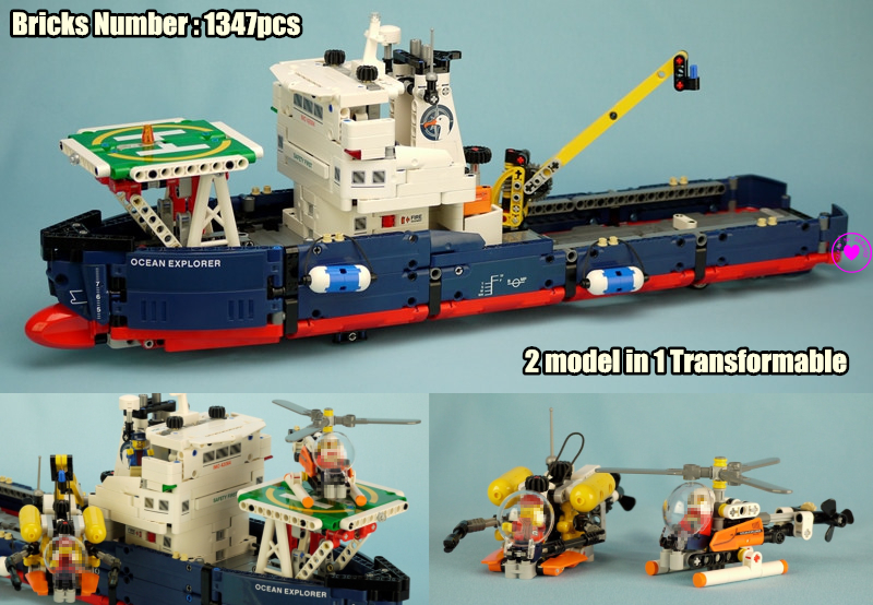 New Transformable Technic Searching Ship fit legoings technic ship boat Helicopter city plane Building Block Bricks 42064 Toys