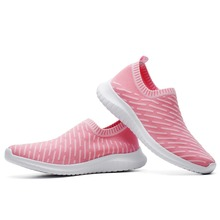 TIOSEBON Womens Lightweight Soft Running Flat Shoes Walking Casual Sports Knit Workout Breathable Elastic Band Female Sneakers
