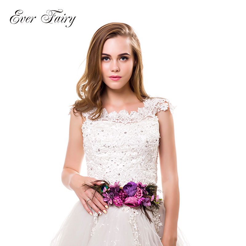 EVER FAIRY Fashion Flower   Belts   For Women Girl Wedding Sashes Feather   Belt   Fabric Elastic   Belt   Accessories