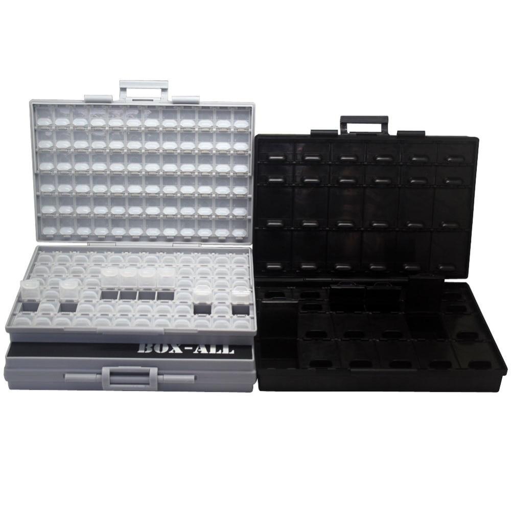 AideTek SMTresistor capacitor SMDstorage box Organizer 0603 0402 0201 bins anti-statics Transistor diode chips2BOXALL+BOXALL48AS