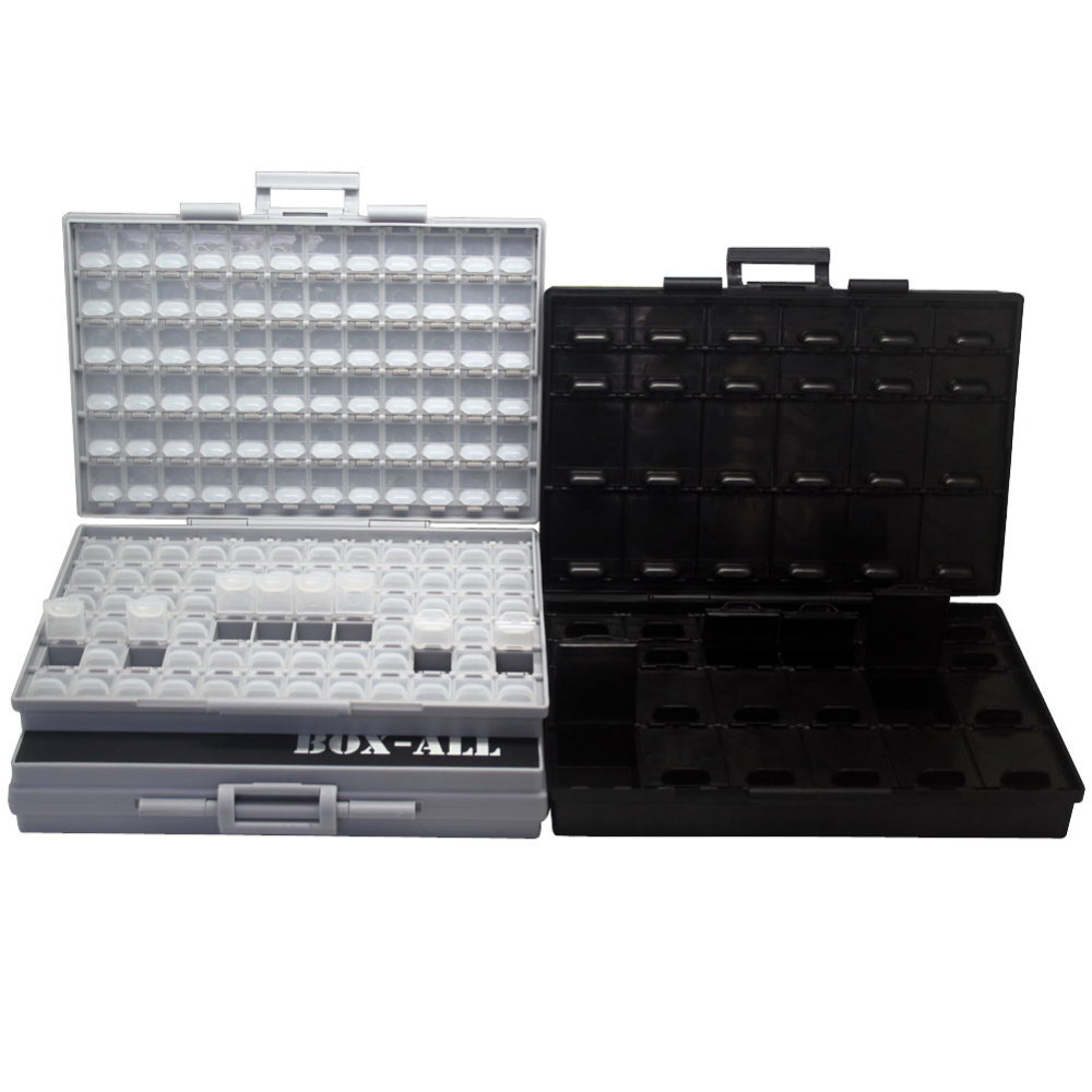 AideTek SMTresistor capacitor storage box Organizer 0603 0402 0201 bins anti-statics SMDTransistor diode chips2BOXALL+BOXALL48AS 0805 0603 0402 1206 smd capacitor resistor assortment combo kit sample book lcr clip tweezer