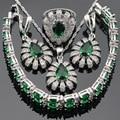 Серебряный Цвет Ювелирные Наборы Для Женщин Зеленый Имитационные Изумрудный Белый CZ Серьги Браслет Кольца Ожерелье Кулон Бесплатный Подарочная Коробка