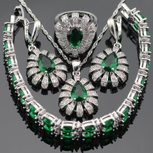 Plata Sistemas de La Joyería Para Las Mujeres de Color Verde Esmeralda Imitado Blanco CZ Pendientes Anillos Pulsera Collar Colgante De Caja de Regalo